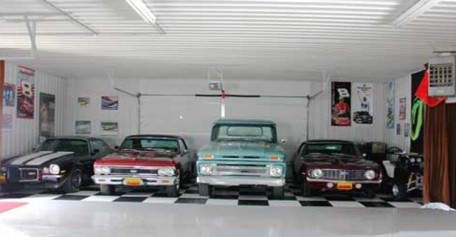 Pristine Finished Interior of a Pole Building/Garage/Shop showing single garage bay for multiple cars. Showcase your Nascar spirit with a checkerboard floor for your classic cars and trucks.