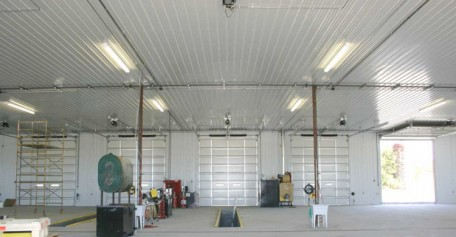 Pristine Finished Interior of a Pole Building/Garage/Shop showing multiple garage bays.